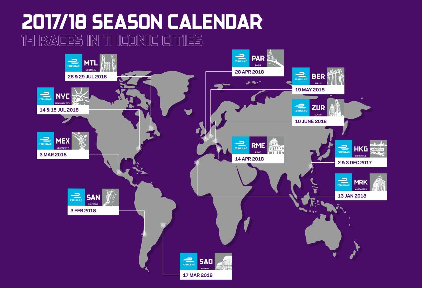 calendario Formula E 2017-2018