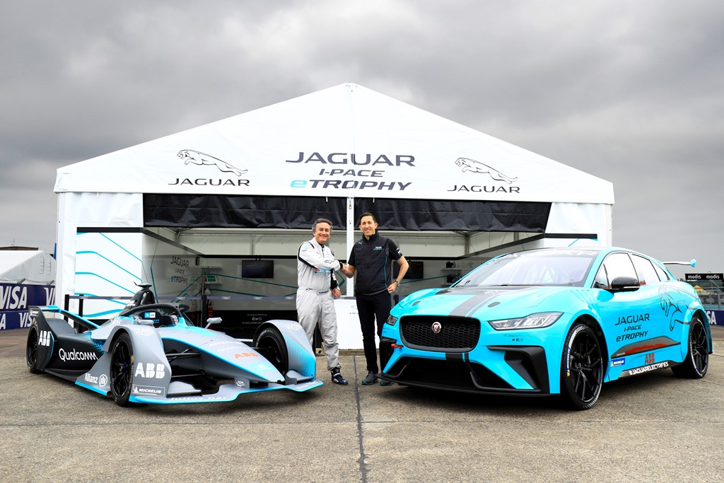 Alejandro Agag, CEO, Formula E, with James Barclay, Team Director, Jaguar Racing and the Gen2 Formula E car and the Jaguar iPace eTrophy car.