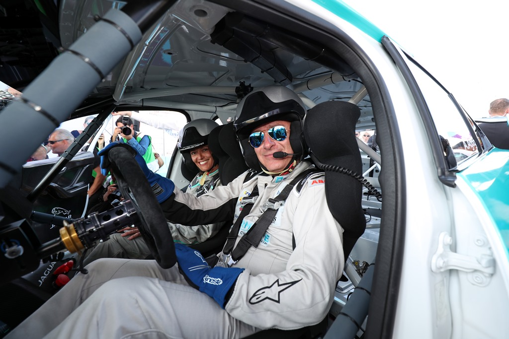 Alejandro Agag, CEO, Formula E, drives the new i-Pace eTrophy car.
