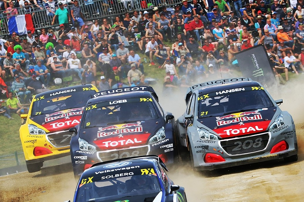 Team Peugeot Total in action at FIA World Rallycross Championship in Mettet, Belgium on 13 May 2018 // @World / Red Bull Content Pool // AP-1VN2G7XXD2111 // Usage for editorial use only // Please go to www.redbullcontentpool.com for further information. //