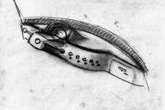 Schizzo della plancia di bordo realizzato negli anni '40 - 1