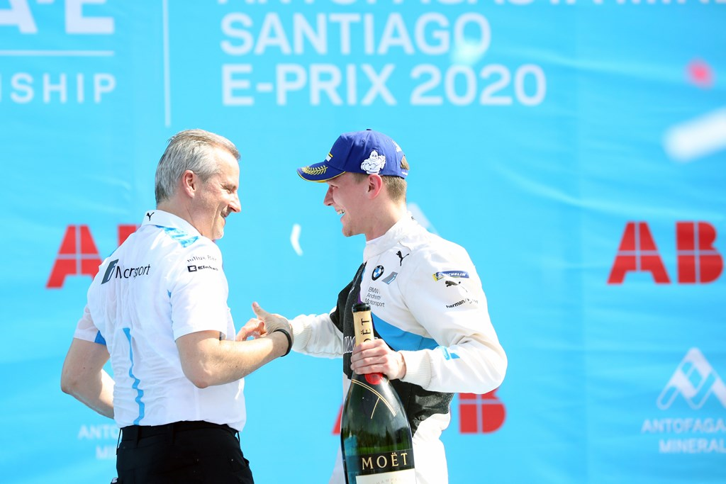 Santiago de Chile (CHL), 16th-18th January 2020. ABB FIA Formula E Championship, Season 6, BMW i Andretti Motorsport, Jens Marquardt (GER) BMW Motorsport Director and Winner Maximilain Günther (GER).