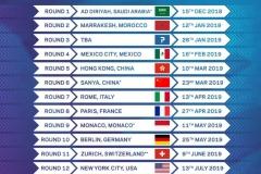 Calendario Formula E con Sanya China