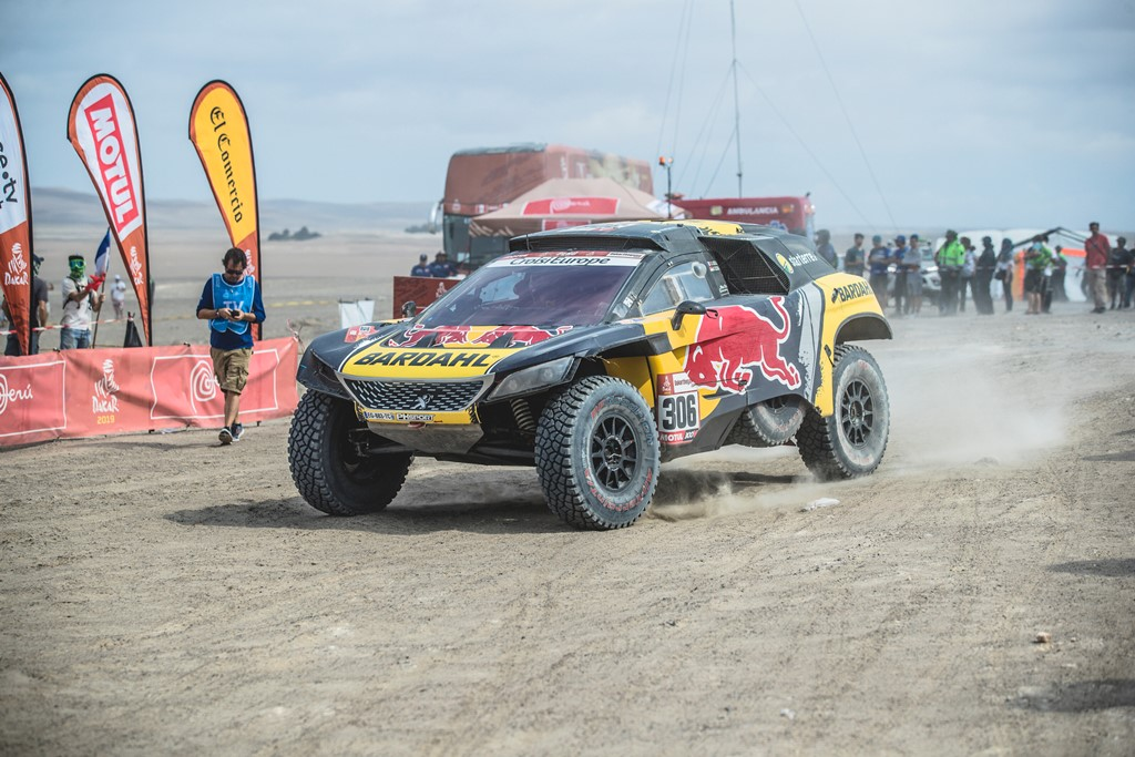 Sebastien Loeb (FRA) of PH Sport seen at the finish line of races during stage 6 of Rally Dakar 2019 from Arequipa to San Juan de Marcona, Peru on January 13, 2019. // Flavien Duhamel/Red Bull Content Pool // AP-1Y4AUJAUS2111 // Usage for editorial use only // Please go to www.redbullcontentpool.com for further information. //