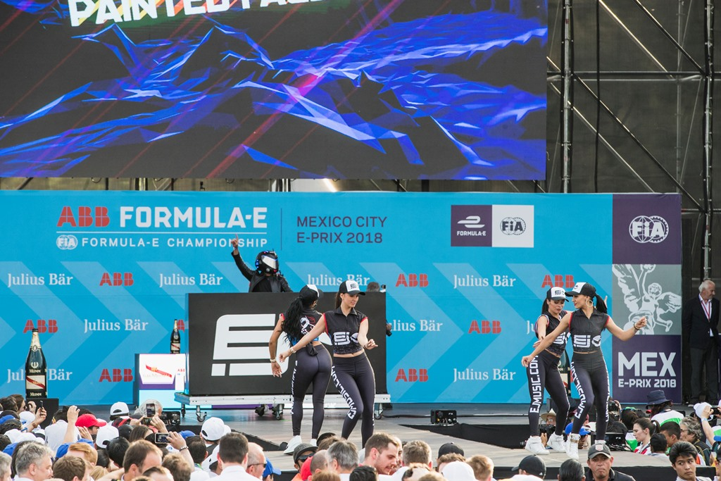 2017/2018 FIA Formula E Championship. Round 5 - Mexico City ePrix. Autodromo Hermanos Rodriguez, Mexico City, Mexico. Saturday 3 March 2018. Dancers on the podium. Photo: Zak Mauger/LAT/Formula E ref: Digital Image _56I1693