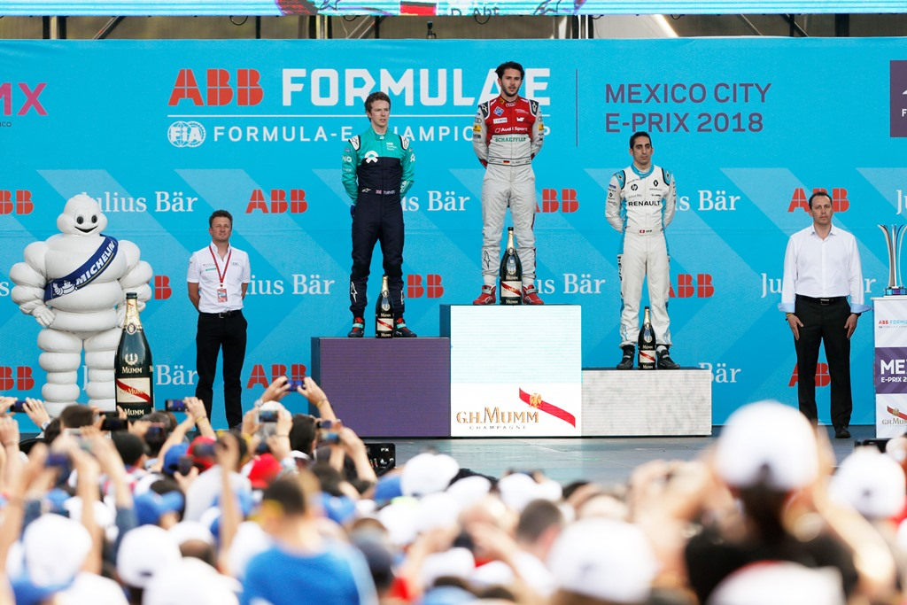 2017/2018 FIA Formula E Championship. Round 5 - Mexico City ePrix. Autodromo Hermanos Rodriguez, Mexico City, Mexico. Saturday 03 March 2018. Daniel Abt (GER), Audi Sport ABT Schaeffler, Audi e-tron FE04, celebrates on the podium with Oliver Turvey (GBR), NIO Formula E Team, NextEV NIO Sport 003, and Sébastien Buemi (SUI), Renault e.Dams, Renault Z.E 17. Photo: Alastair Staley/LAT/Formula E ref: Digital Image _MGL6791
