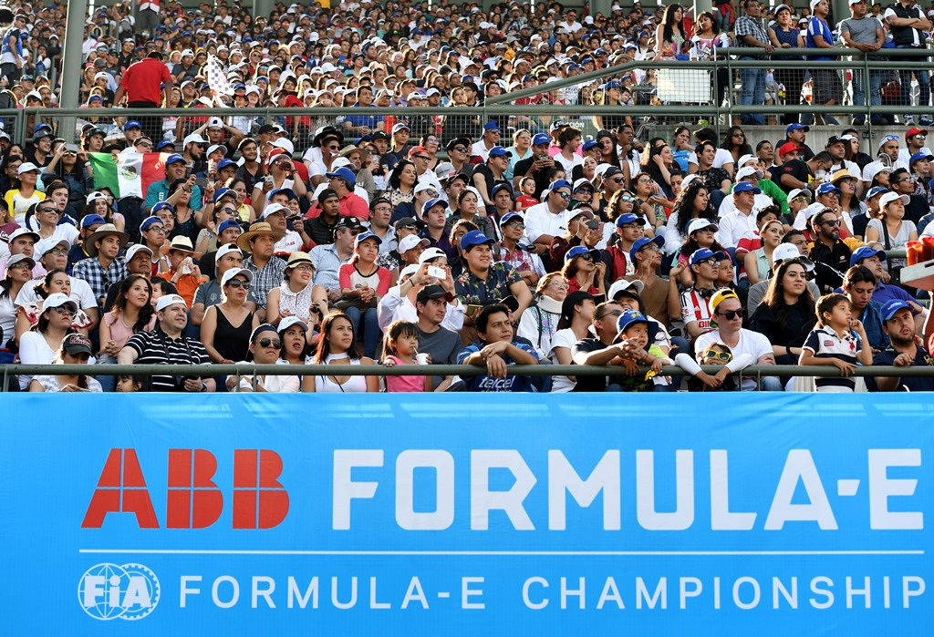 2017/2018 FIA Formula E Championship. Round 5 - Mexico City ePrix. Autodromo Hermanos Rodriguez, Mexico City, Mexico. Saturday 3 March 2018. ABB logo on the grandstand. Photo: Sam Bagnall/LAT/Formula E ref: Digital Image SB1_8008