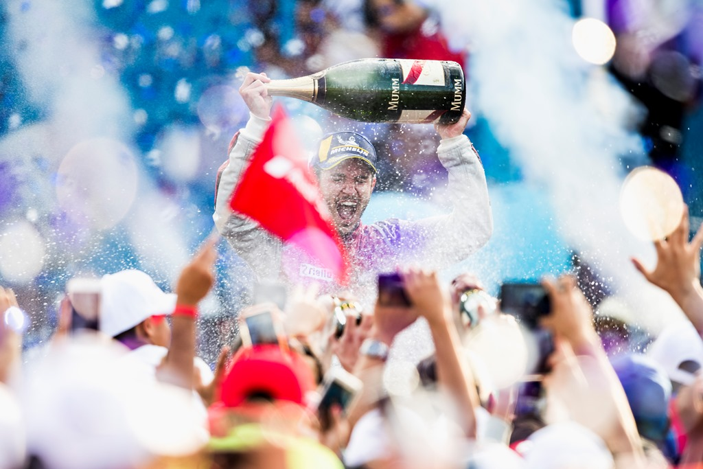 2017/2018 FIA Formula E Championship. Round 5 - Mexico City ePrix. Autodromo Hermanos Rodriguez, Mexico City, Mexico. Saturday 3 March 2018. Daniel Abt (GER), Audi Sport ABT Schaeffler, Audi e-tron FE04, celebrates on the podium after winning the race. Photo: Zak Mauger/LAT/Formula E ref: Digital Image _54I9128