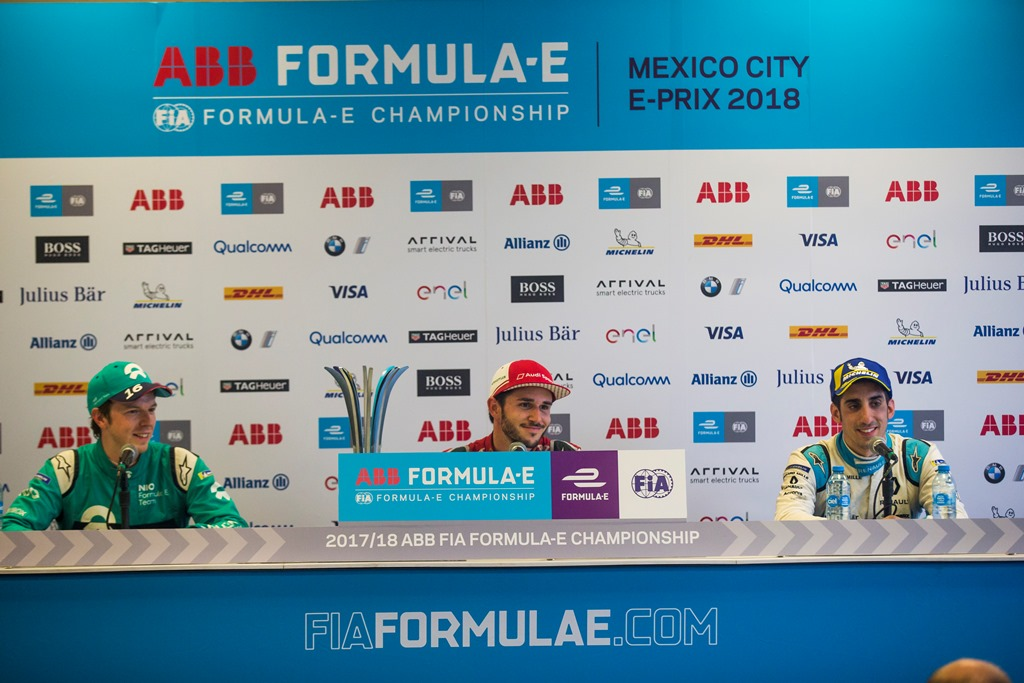 2017/2018 FIA Formula E Championship. Round 5 - Mexico City ePrix. Autodromo Hermanos Rodriguez, Mexico City, Mexico. Saturday 3 March 2018. Daniel Abt (GER), Audi Sport ABT Schaeffler, Audi e-tron FE04, Oliver Turvey (GBR), NIO Formula E Team, NextEV NIO Sport 003, and Sébastien Buemi (SUI), Renault e.Dams, Renault Z.E 17, talk to the media in the press conference. Photo: Sam Bloxham/LAT/Formula E ref: Digital Image _X0W0948