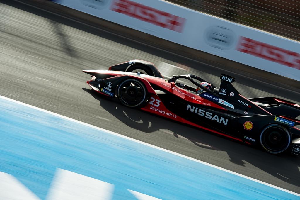 Nissan Formula E Driver Sebastien Buemi in car 23 in Marrakesh