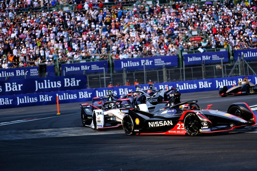 Nissan Formula E Driver Sebastien Buemi in car 23 in Mexico