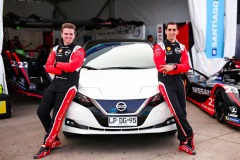 Nissan Formula E Drivers Oliver Rowland and Sebastien Buemi with the Nissan LEAF in Chile