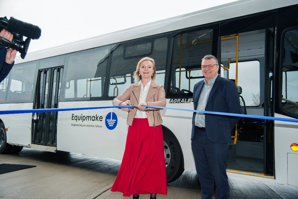 Equipmake Electric bus factory, Snetterton business Park, Norfolk.  Liz Truss opening the factory with Managing Director Ian Foley.