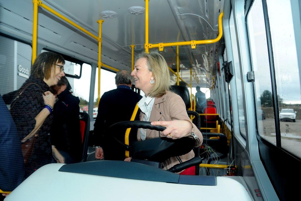 Equipmake Electric bus factory, Snetterton business Park, Norfolk.  Liz Truss driving the bus.