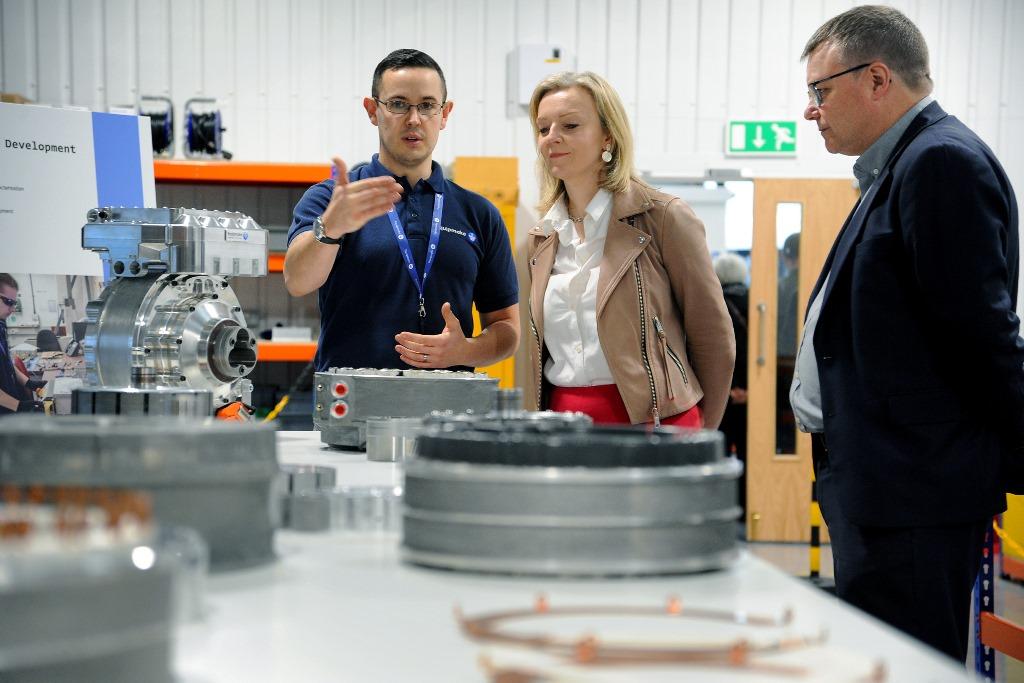 Equipmake Electric bus factory, Snetterton business Park, Norfolk.  Liz Truss  with Managing Director Ian Foley.