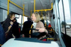 Equipmake Electric bus factory, Snetterton business Park, Norfolk.  Liz Truss driving the bus.