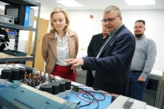Equipmake Electric bus factory, Snetterton business Park, Norfolk.  Liz Truss  with Managing Director Ian Foley.