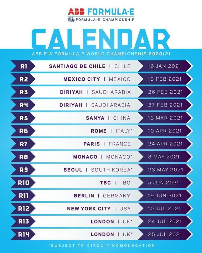 Calendario Formula 2021 Presentato dalla FIA il calendario provvisorio della Formula E