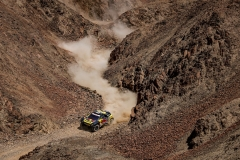 Sebastien Loeb and Daniel Elena in the Peugeot 3008 of the PH-Sport are making their way through a canyon during stage 7 of the Dakar Rally, San Juan de Marcona looping back to San Juan de Marcona, Peru, on January 14, 2019. // Florent Gooden / DPPI / Red Bull Content Pool  // AP-1Y4MB5ACD2111 // Usage for editorial use only // Please go to www.redbullcontentpool.com for further information. //