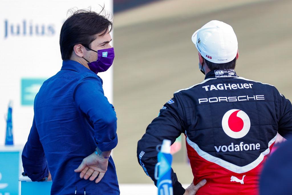 Former Formula E champion Nelson Piquet Jr. chats with Neel Jani (CHE), Tag Heuer Porsche