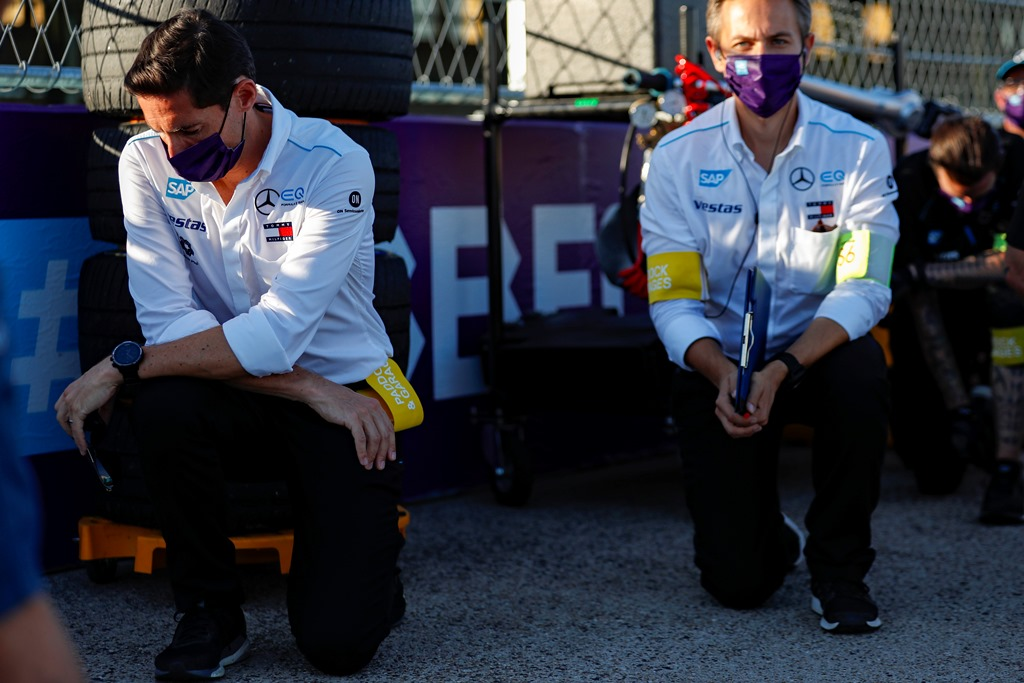 Ian James, Team Principal, Mercedes-Benz EQ  takes the knee before the start of the race