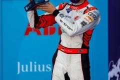 René Rast (DEU), Audi Sport ABT Schaeffler, 3rd position, with his trophy on the podium