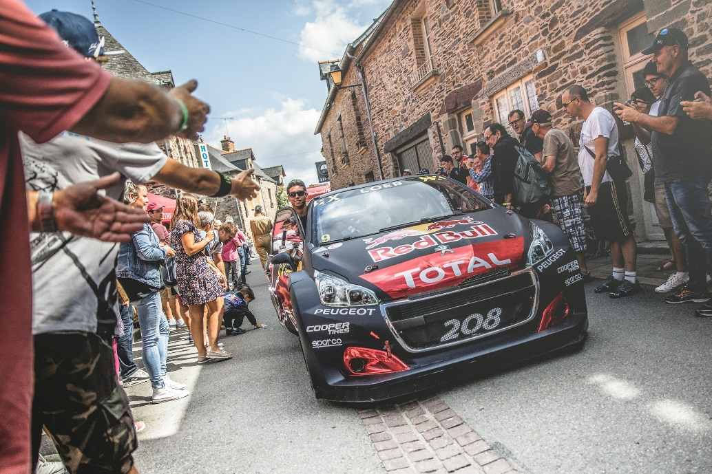 The Peugeot 208 WRX is seen at the FIA World RallyCross Championship in Loheac, France on August 31, 2018 // Flavien Duhamel/Red Bull Content Pool // AP-1WRUABV7N2111 // Usage for editorial use only // Please go to www.redbullcontentpool.com for further information. //