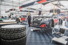 Mechanics are working on the Peugeot 208 WRX during the FIA World RallyCross Championship in Loheac, France on August 31, 2018 // Flavien Duhamel/Red Bull Content Pool // AP-1WRU9T62H2111 // Usage for editorial use only // Please go to www.redbullcontentpool.com for further information. //