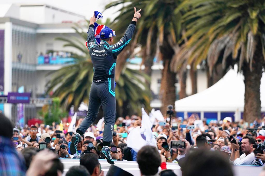 Mitch Evans (NZL), Panasonic Jaguar Racing, celebrates on the podium after winning the race