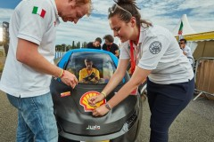 Team H2politO - Molecules going hybrid, race number 505, from Politecnico Di Torino, Italy, competing in the UrbanConcept-Gasoline category with their vehicle, the JUNO during day five of Shell Make the Future Live 2019 at the Brooklands motor racing circuit, Friday, July 5, 2019, Weybridge, Surrey, UK. (Ed Robinson/Shell)