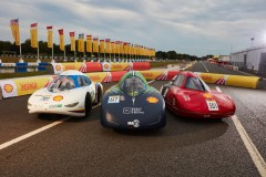 The three winning vehicles from the Drivers World Championship line up after the race during day five of Shell Make the Future Live 2019 at the Brooklands motor racing circuit, Friday, July 5, 2019, Weybridge, Surrey, UK. (Ed Robinson/Shell)
