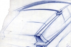 Disegno di Michel Harmand del 1967 restyling parte posteriore