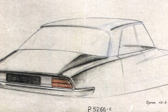 Disegno di Robert Opron del 1966 per un restyling del posteriore della vettura