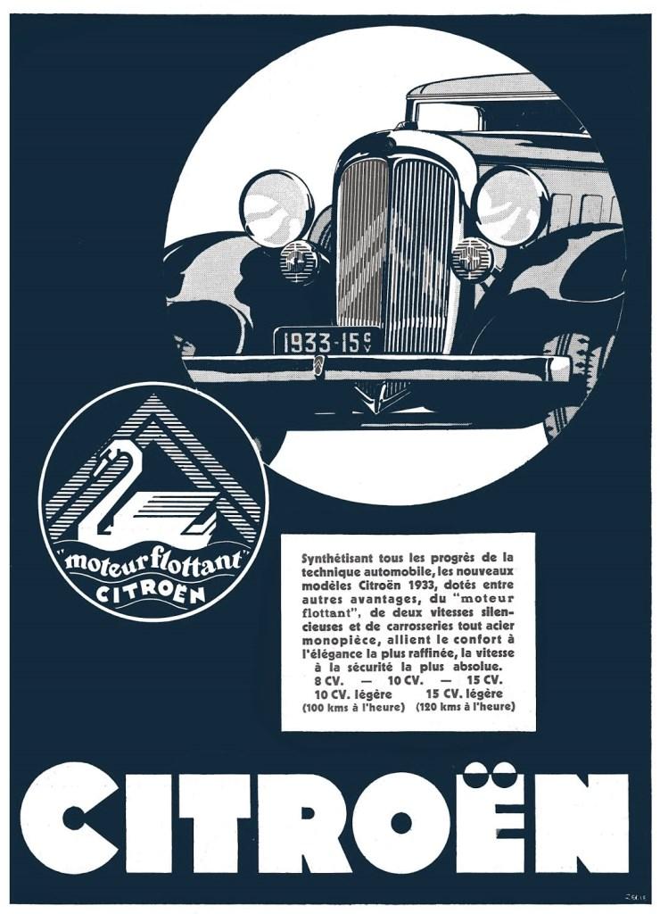 Pubblicita 8CV tout acier e moteur flottant 1933