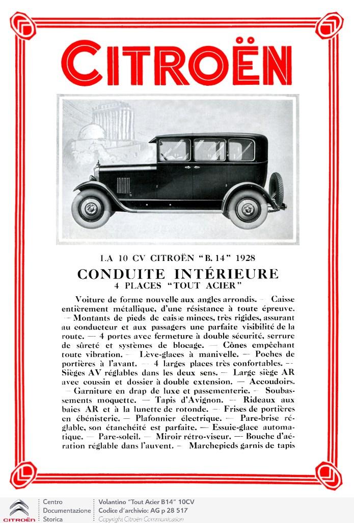 Pubblicita B14 tout acier 1928