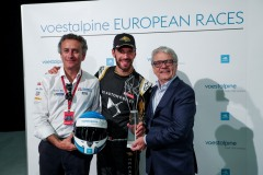 BERN, SWITZERLAND - 22nd JUNE 2019: Jean-Eric Vergne (FRA), DS TECHEETAH, receives the Voestalpine Trophy with Alejandro Agag, CEO, Formula E  on 22nd JUNE 2019 in Bern, Switzerland. (Photo by FIA ABB Formula-E Handout/Getty Images)