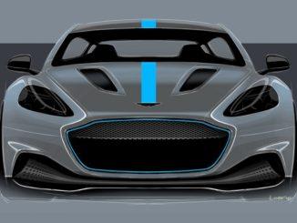 Teaser per Aston Martin Rapid-E che debutterà alla fine del 2019