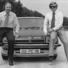 George Gallion (links) am Opel Manta B GT/E, Testcenter Dudenhofen