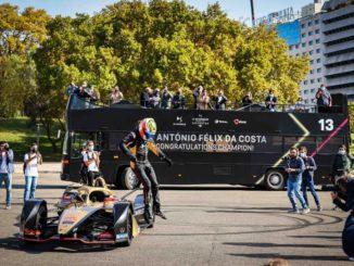 Formula E. DS Techeetah e Antonio Felix Da Costa festeggiano a Lisbona