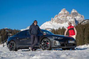 Anteprima italiana di Audi e-tron GT sul lago ghiacciato di Misurina