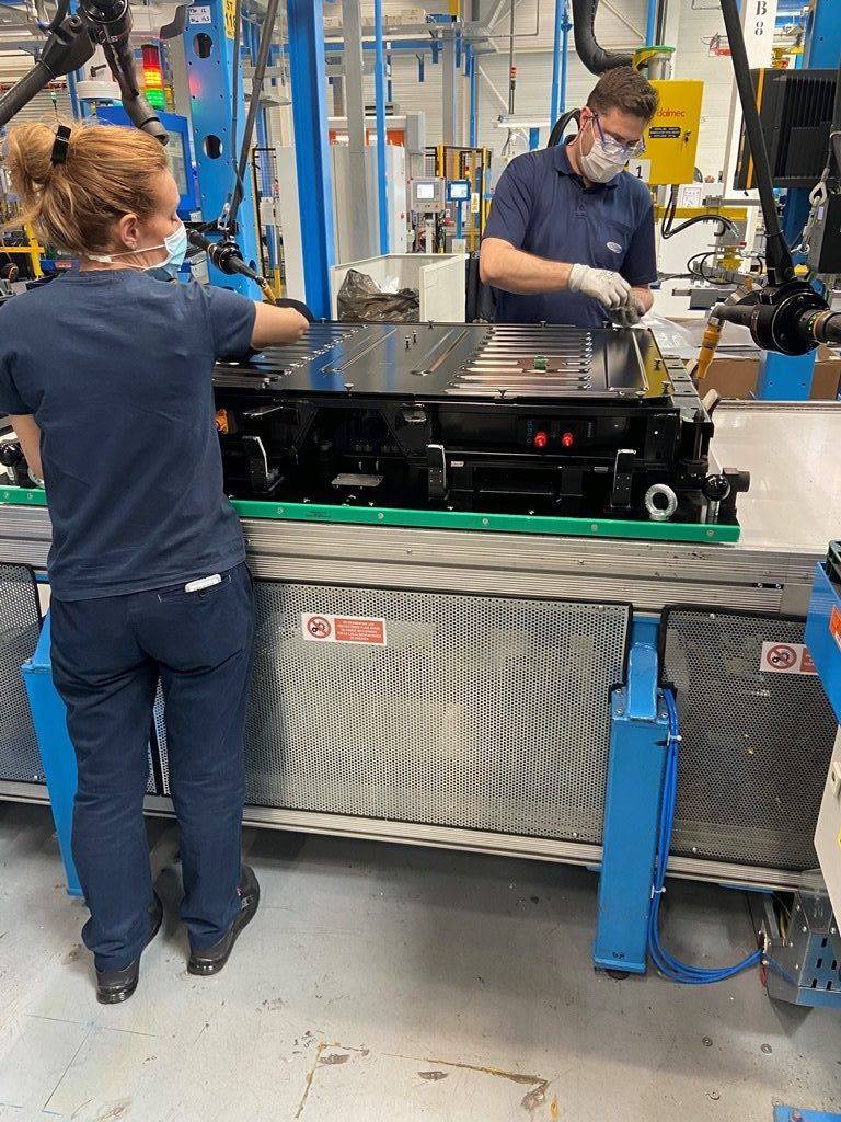 Electrified Vehicle battery assembly lines in Valencia manufacturing plant.