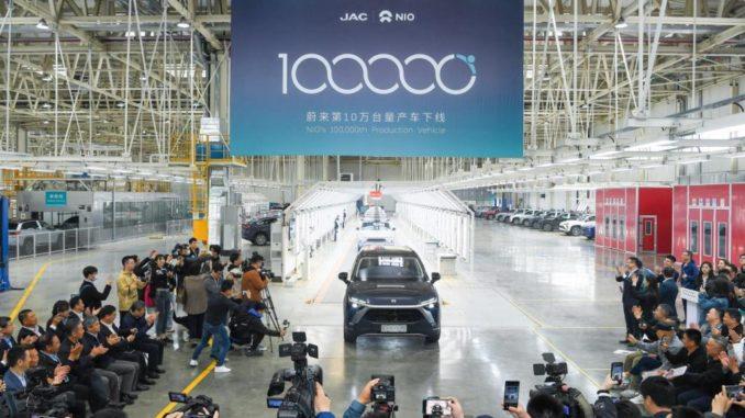 NIO ha raggiunto i 100.000 veicoli elettrici prodotti