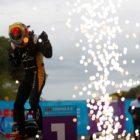 Jean Eric Verne celebrates winning Formula E Rome