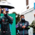 Sam Bird (GBR), Jaguar Racing celebrates on the way to the podium