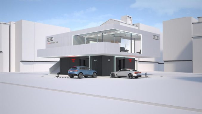 Il progetto pilota Audi per una lounge di ricarica rapida