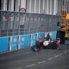 Rene Rast (DEU), Audi Sport ABT Schaeffler, climbs from his car after a crash