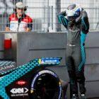 Sam Bird (GBR), Jaguar Racing, assesses the damage after crashing out in FP1