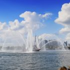 An FDNY ship sprays its hoses in the Hudson