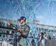 Mitch Evans (NZL), Jaguar Racing, 3rd position, sprays Champagne