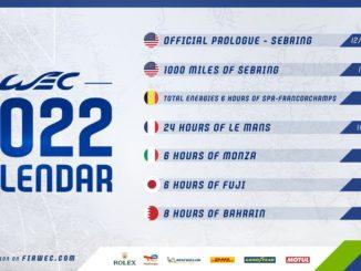 Il calendario 2022 del Campionato Mondiale Endurance